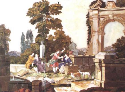 Осязание и Обоняние. Середина XVIII в. Флорентийская мозаика янтарной комнаты