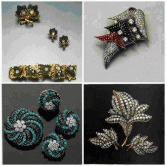 Пара клипс в форме листьев и кольцо того же дизайна с рубинами и бриллиантами