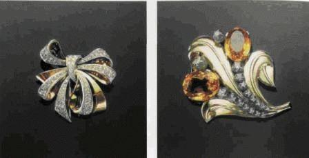 Гарнитур, включающий брошь и клипсы, из золота с рубинами, цитрином и бриллиантами работы техасского ювелира Пола Флэйто