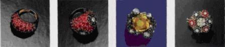 Гарнитур из золота с нефритом, рубинами, сапфирами