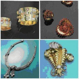 Гарнитур из золота с нефритом, рубинами, сапфирами и бриллиантами
