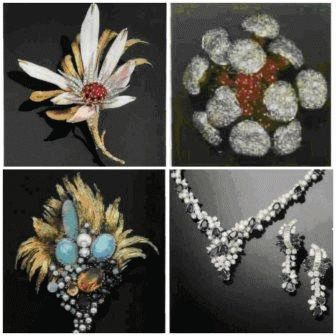 Брошь с рубинами и бриллиантами в форме семейства грибов-поганок, прикрепленных подвижно к пригорку из рубиновых кабошонов. Роджер Кинг для Рой С. Кинг