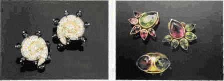 Две броши в натуралистическом стиле. Кристофер Уоллинг. Традиционные мотивы в изделиях интерпретированы новыми и непривычными способами. В центре первого образца размещена жемчужина-абалон