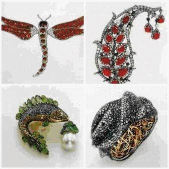 Брошь в форме листа. Мишель делла Балле. Дизайн выполнен в натуралистическом стиле с индийскими орнаментами; использованы бирманские рубины, культивированный жемчуг, аметисты и бриллианты