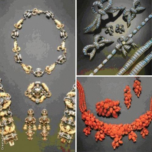 Отличная парюра с бирюзой и бриллиантами, включающая ожерелье с отстегивающимся центральным звеном-бантом, пару раздвигающихся браслетов, одну большую, две средние и две маленькие броши-банта
