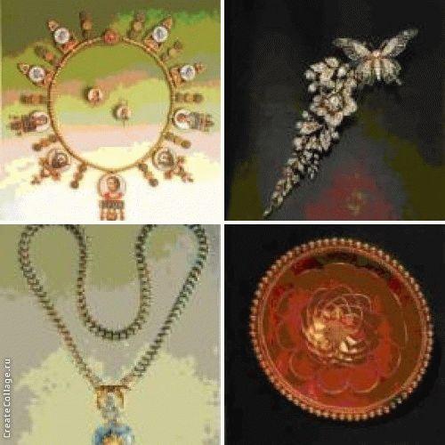 Золотое ожерелье с римскими микромозаиками и серьги