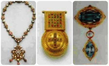 Венское посеребренное ожерелье с самоцветами, в стиле Ренессанса