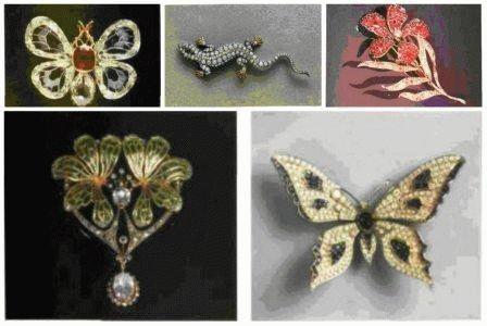 Брошь-ящерица с демантоидными гранатами и бриллиантами