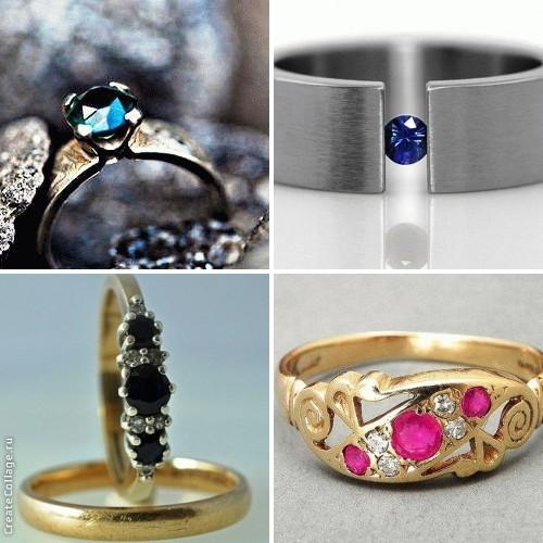 обручальное кольцо с сапфиром фото